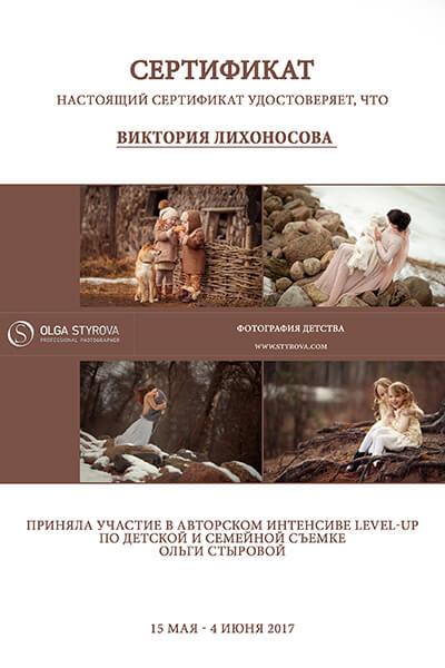 Сертификат Лихоносова Стырова